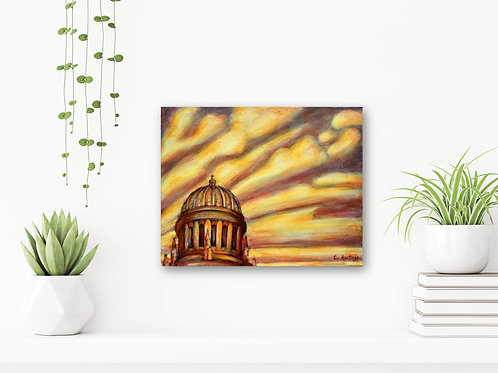 """Flowing Gold 11""""x14"""": Original, abstract art of the Shrine of the Báb"""