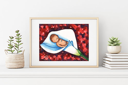 "Artificial Womb 9""x12"": Original watercolor art of a newborn"