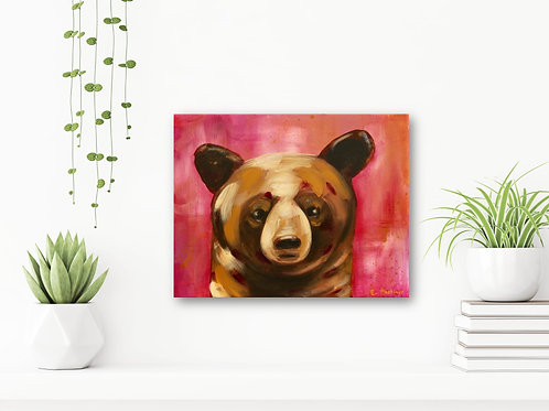 """Little Red 11""""x14"""": Original, abstract animal art of a baby brown bear"""