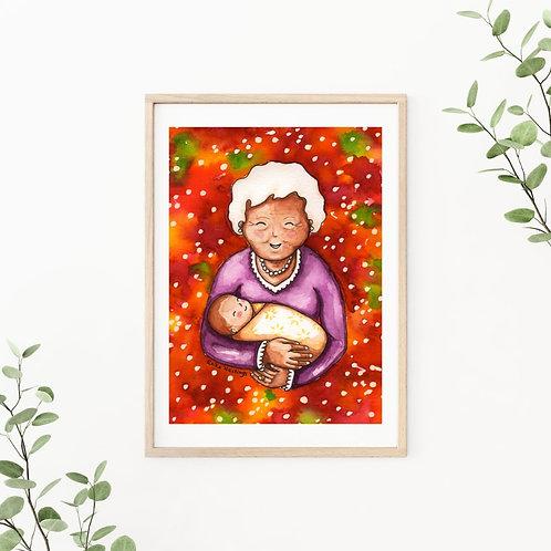 """Grandma and Baby 9""""x12"""": Original watercolor painting"""
