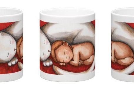 Sleeping Cat and Baby Coffee Mug - 11oz Ceramic