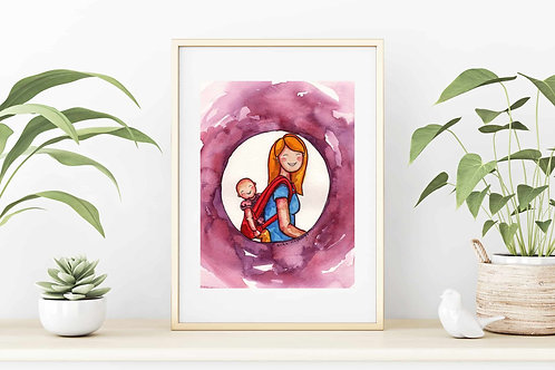 "Baby Wearing 9""x12"": Original watercolor portrait art of a mother wearing a baby"