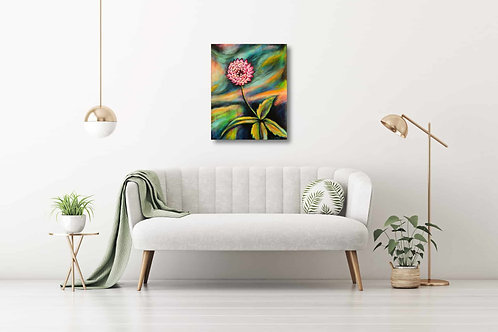 "Reaching Out 16""x20"": Original nature art of a pink flower"