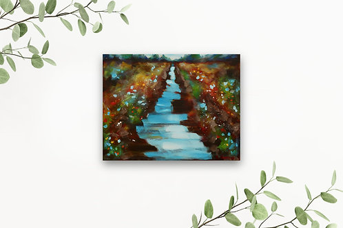 """The River Flows 11""""x14"""": Original, abstract nature art of a river & wildflowers"""