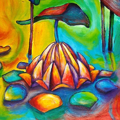 Floating Lotus Greeting Card