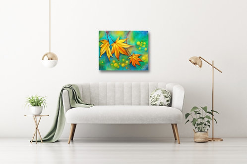 "Dancing Leaves 16""x20"": Original art of yellow autumn leaves in the wind"