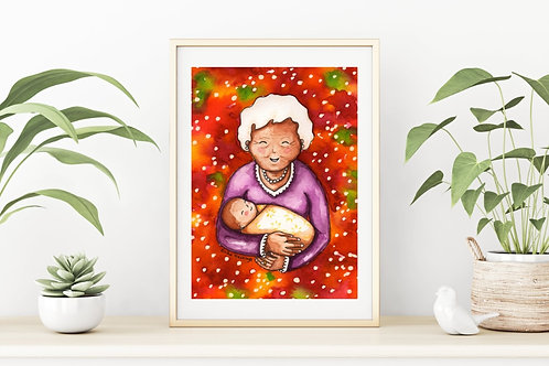 Grandma and Baby Canvas & Art Prints