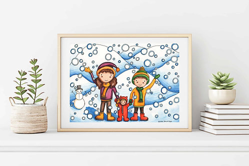 "It's Snowing 9""x12"": Original winter art with children playing in the snow"