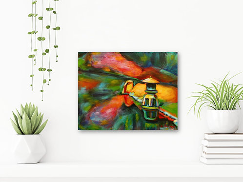 """Singing in the Rain 11""""x14"""": Original, abstract art of a Japanese garden"""