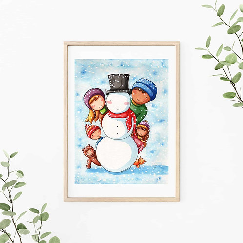 Making a Snowman Fine Art & Canvas Prints