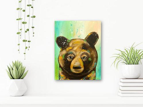 "We Got This 11""x14"": Original, abstract animal art of a brown bear"