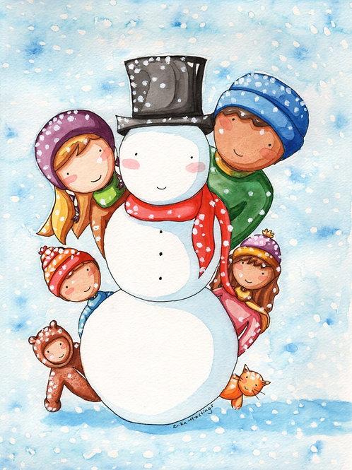 Making a Snowman Greeting Card
