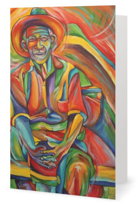 Mexican Man in Boat Greeting Card