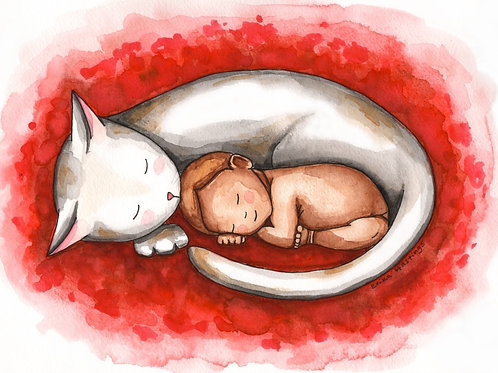 Sleeping Cat and Baby Greeting Card