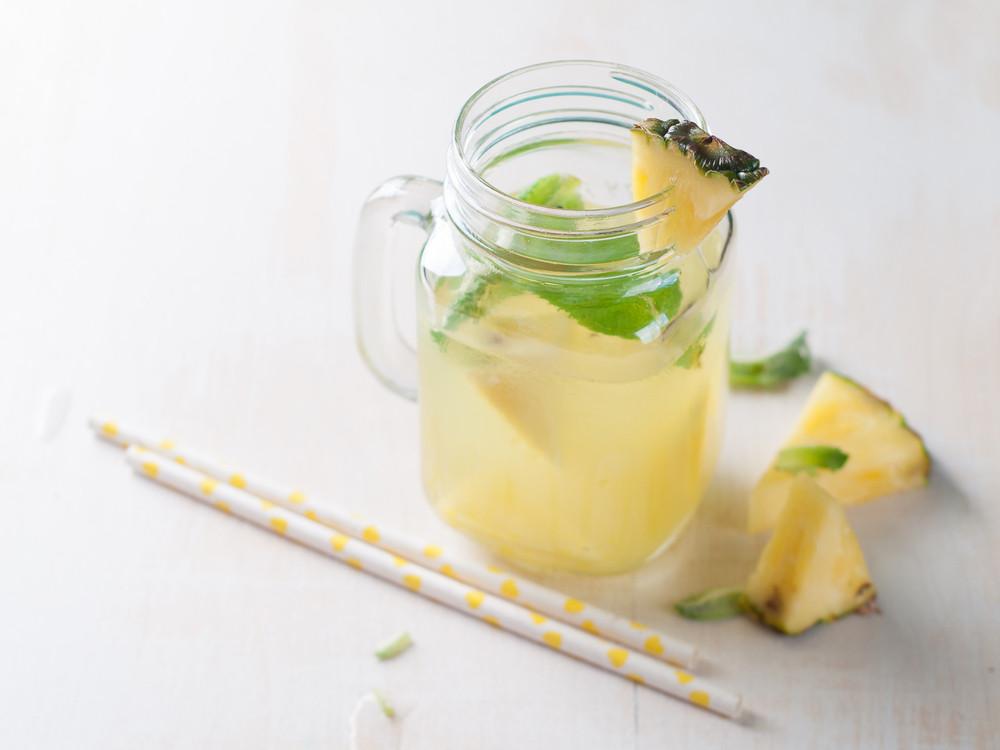 a mason jar of pineapple water