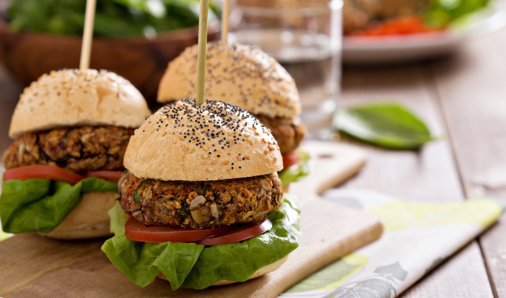 photo of veggie burgers with buns.