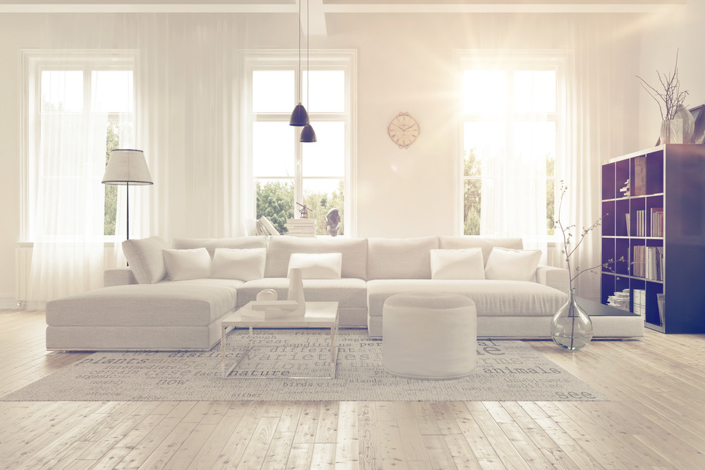 a clean, white room with lots of light.
