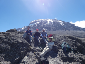Megan relaxing in the sun halfway up the summit of Mt Kilimanjaro