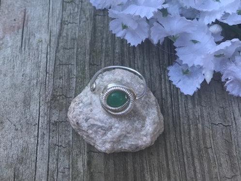 Green Agate Adj Beaded Ring w/Silver Wrap