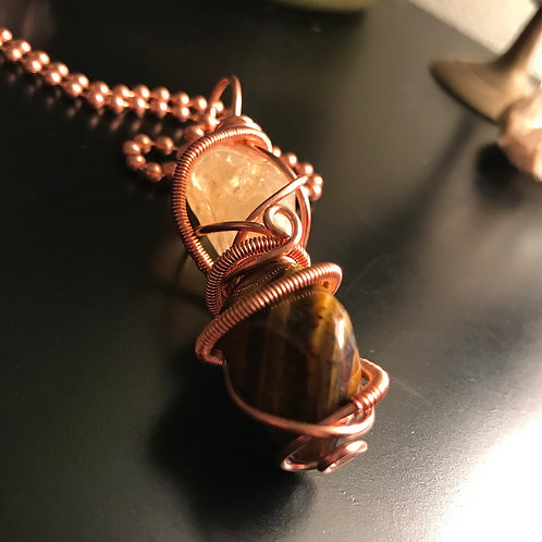 Citrine and Tigers Eye double wrap