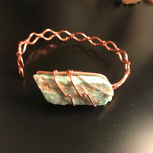 Amazonite Adj Copper Bracelet