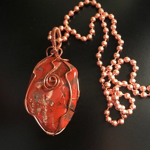 Red Jasper w/copper wrap