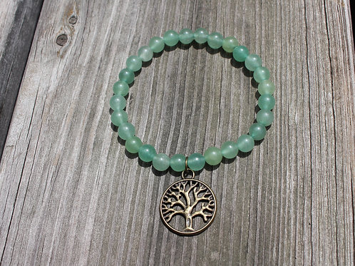 Green Aventurine Bracelet w/Tree of Life