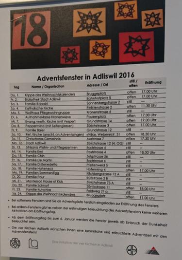 Adventsfenster 2016 in Adliswil