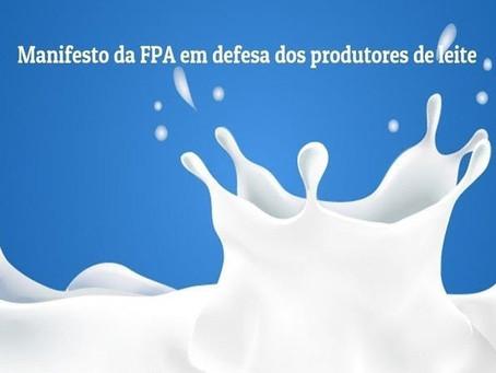 FPA reforça apoio aos produtores de leite e pede suspensão de importações