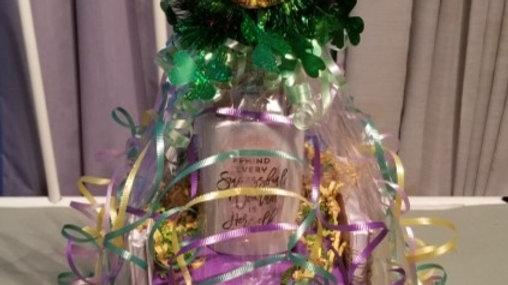 Women Large Mardi Gra Birthday Basket