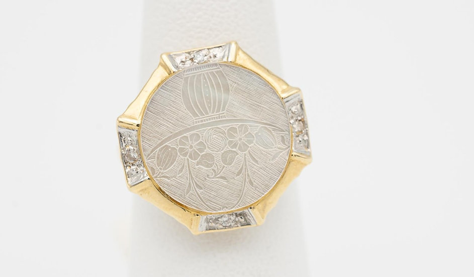 14k Yellow Gold Abalone Ring with Diamond accents