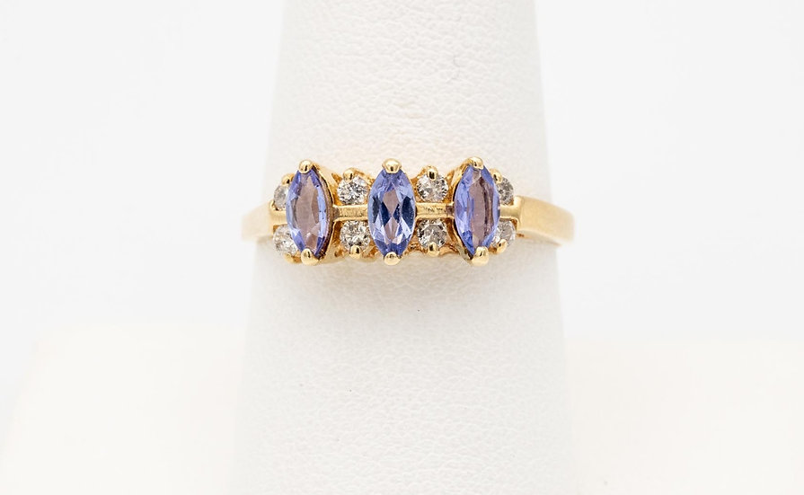 14k Yellow Gold Tanzanite Marquise Ring with Diamond Accents
