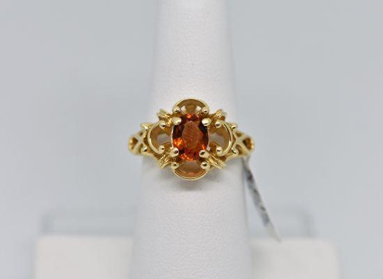 14k Yellow Gold Mandarin Garnet Women's Ring
