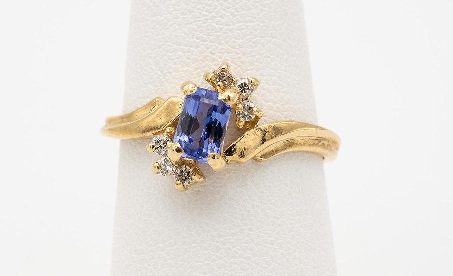 14k Yellow Gold Tanzanite & Diamond Lady's Cocktail Ring