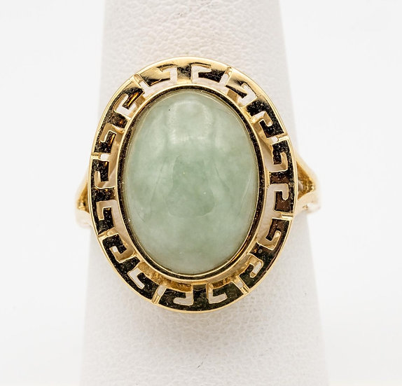 14k Yellow Gold Mutton Fat Jade Ring