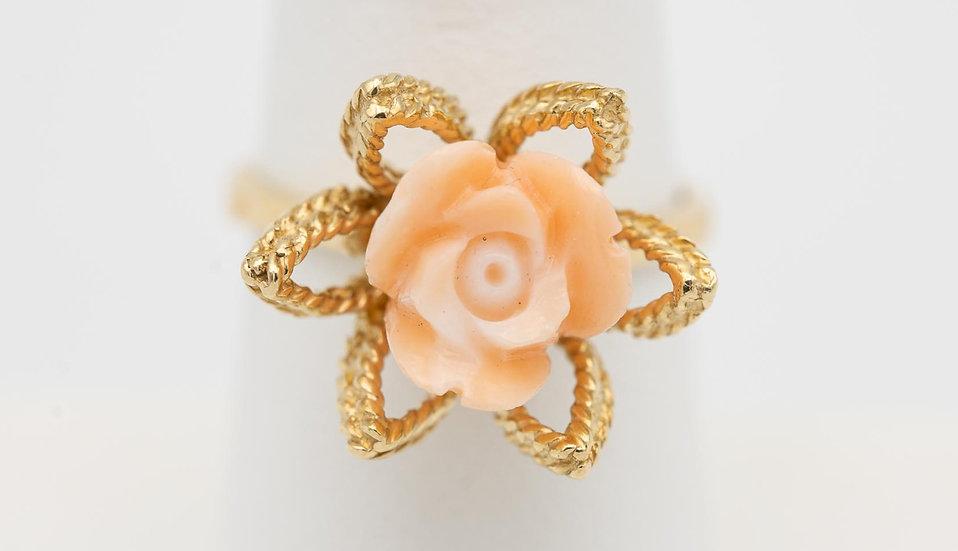 10k gold coral flower ring