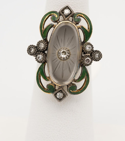 14k White Gold Antique Green Enamel Diamond Ring