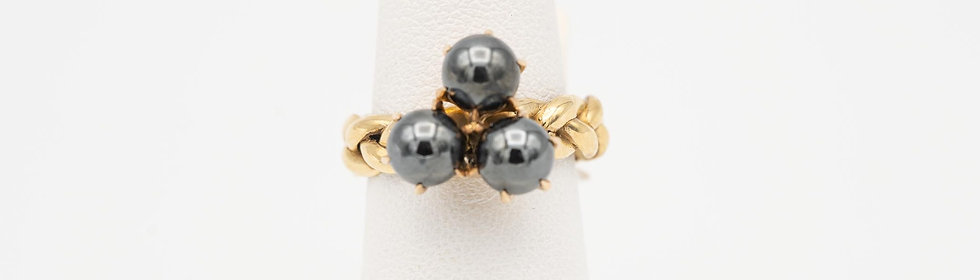 14k Yellow Gold Marcasite Ring