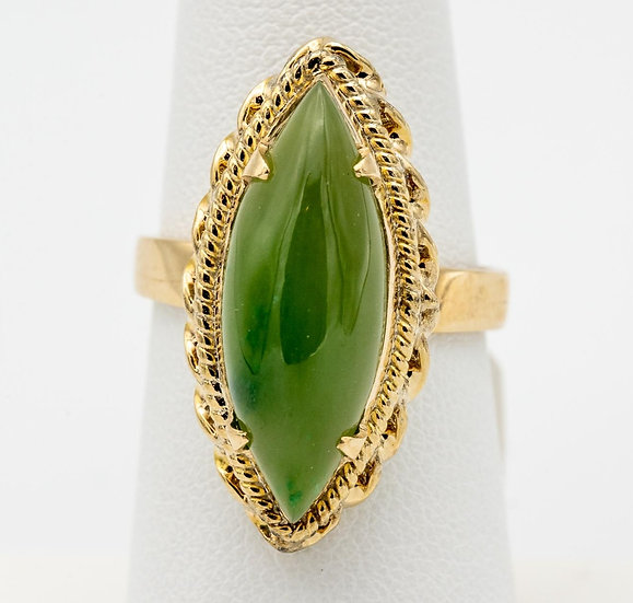 18k Yellow Gold Marquise Jade Ring