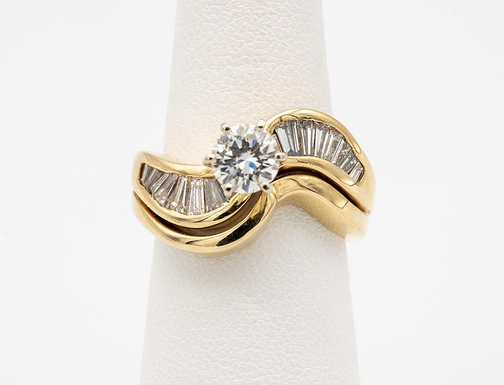 14k Yellow Gold Diamond Ring with Baguette Accents