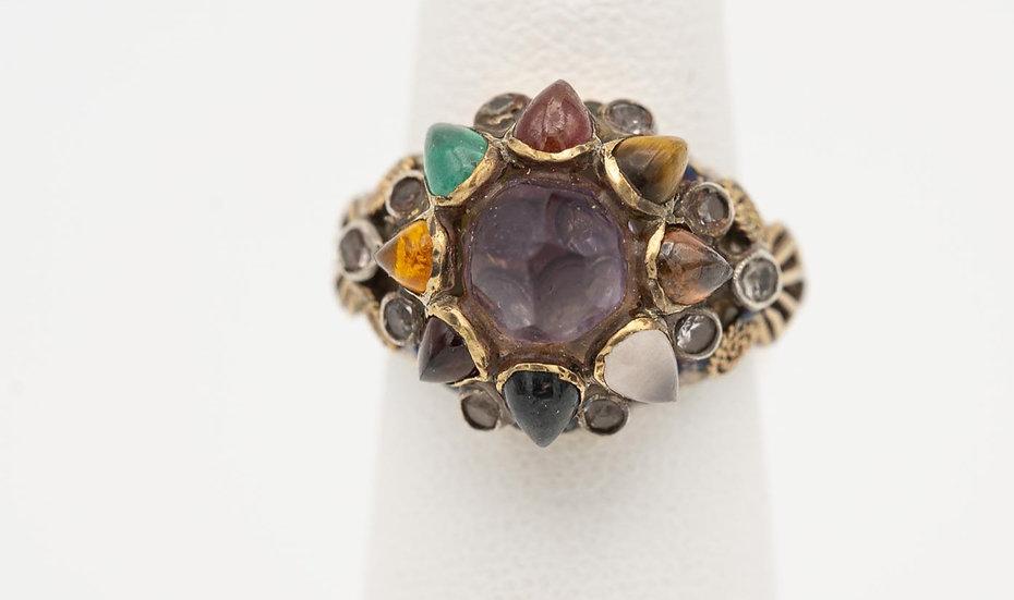 14k Yellow Gold antique multi-stone ring