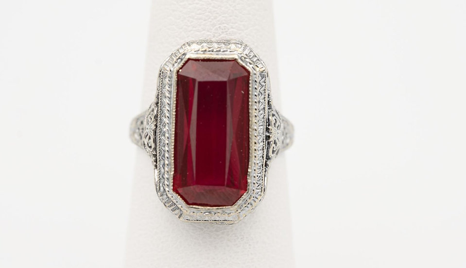 14k White Gold Antique Synthetic Ruby Ring