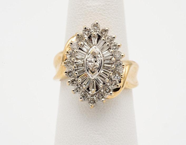 14k Yellow Gold Marquise Shape Diamond Ring