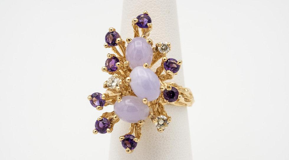 14k Yellow Gold Lavender jade, Amethyst & Diamond Lady's Cocktail Ring