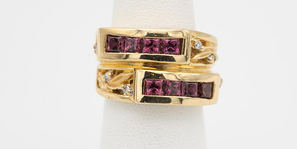 14k Yellow Gold Tourmaline Ring with Diamond Accents