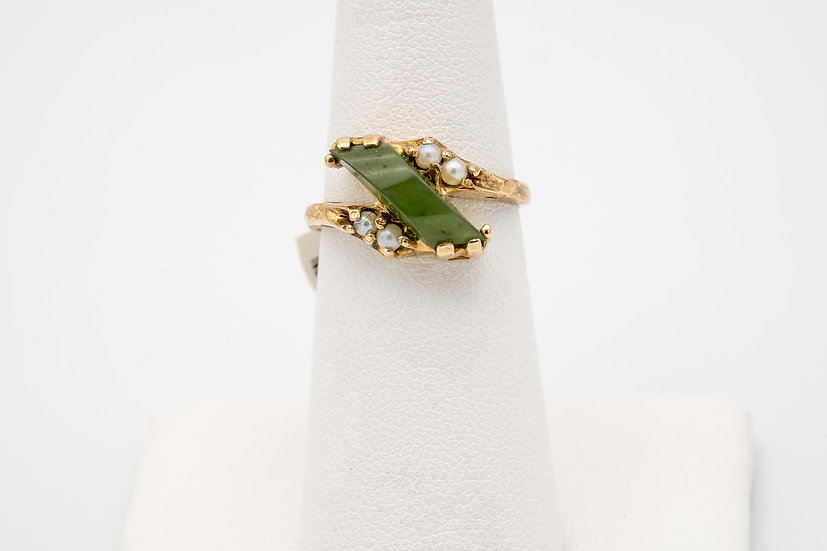 10k Yellow Gold Jade & Saltwater Pearl Lady's Cocktail Ring
