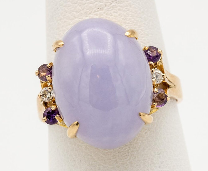 14k Yellow Gold Lavender Jade, Diamond and Amethyst Ring