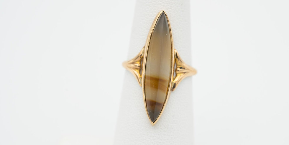 10k Yellow Gold Agate Marquise Ring
