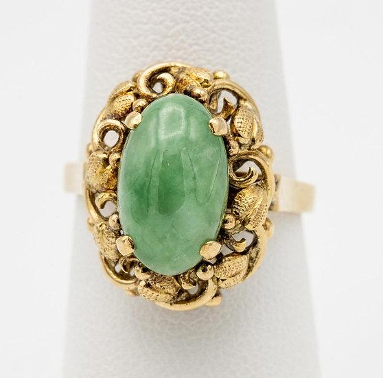 14k Yellow Gold Apple Jade Ring