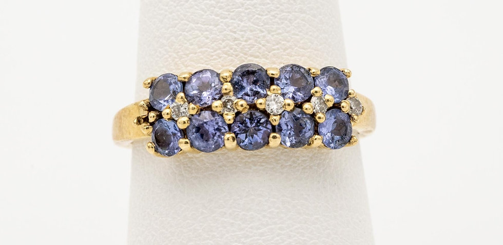 14k Yellow Gold Tanzanite & Diamond Accented Lady's Cocktail Ring
